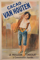 Original Vintage French Poster Advertising Cacao Van Houten Chocolate Ca. 1900