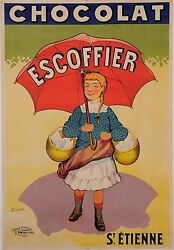 Original Vintage French Poster For Chocolat Escoffier By T. Coulet Ca. 1900