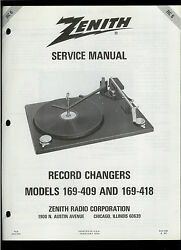 Original Factory Zenith 169-409 418 Record Player Phono Turntable Service Manual