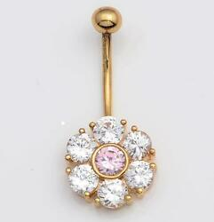 NEW Solid 14KT Yellow Gold Belly Navel Ring w Flower Cluster Pink CZ's 14 Gauge