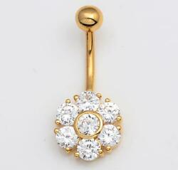NEW Solid 14KT Yellow Gold Belly Navel Ring w Flower Cluster CZ's 14 Gauge