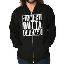 Straight Outta Chicago IL City Movie T Shirts Gift Ideas Zipper Hoodie $16.88