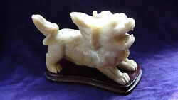Antique Chinese Hardstone Hand Carved Archaic Style Foo-dog Statue On Wood Stand