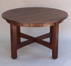 1 Of 2 1920 Jg Stickley Fixed Round Table Arts And Crafts Craftsman Tenon 7836