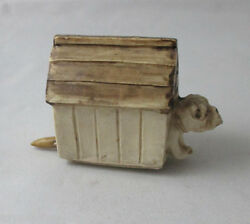 Porcelain Dog And His House Tape Measure Antique C1900's Novelty