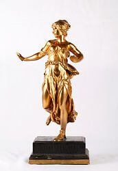 Dore Bronze Statue Of Female Dancer With Hands Out Holding Cymbals Wooden Base