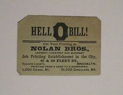 1893 Nolan Bros Brooklyn Business Card And Gravesend Hook And Ladder Co. Ad