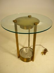 Vintage Dorothy Thorpe 50and039s Mid Century Modern Brass And Glass Lighted Side Table
