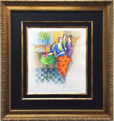 Itzchak Tarkay View From The Lounge Original Watercolor Signed - Custom Framed