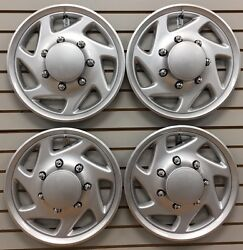 New 1995-2014 Ford E150 E250 E350 Shuttle Van Bus 16 All Silver Hubcap Set Of 4