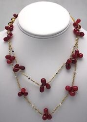 Ruby Bead Tear Drop Necklaces W/ Seed Pearls And Sapphires 34 Long Doubled 14k Yg