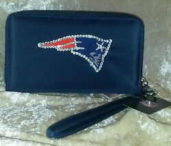New England Patriots Cell Phone Wallet Rhinestone Bling Nfl Licensed