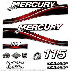 2005 Red Mercury 115hp Saltwater Optimax Outboard Engine Decals Reproductions