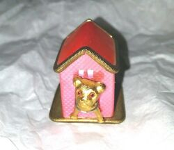 Pink Dog House With Little Gold Dog , Tape Measure, Antique Novelty