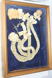 Antique C1800'sframed Ribbon And Ring Chatelaine In 13 X 11 Shadow Box