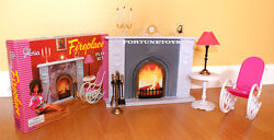 New Gloria Doll House Furniture Fireplace 96006 Playset W/rocking Chair