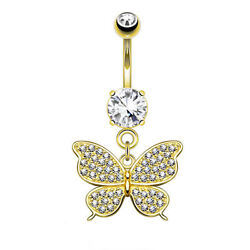 Belly Ring 14K Gold Butterfly Yellow Gold Dangle 14g