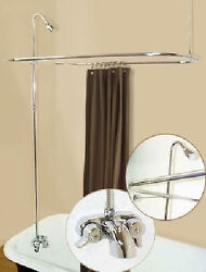 Add A Shower Converter Kit For Clawfoot Tub With Diverter Faucet And Rod Chrome