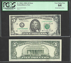 5 1988-a Frn=error=major Solvent Smear=watery Ink Smear=pcgs Vy Ch New 64