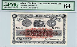 IRELAND NORTHERN 1944 20 POUNDS CHOICE UNC PMG 64 EXTREMELY RARE GRADE