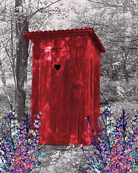 Red Gray Wall Art Photo Print Vintage Outhouse Home Bath Decor Bathroom Picture
