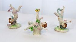 Set Of 3 Antique Meissen Saxony Porcelain Putti Figures In Play