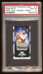 Psa 10 Babe Ruth 2015 Panini Prime Game Worn Patch Jersey Swatch D /10 Pop 1