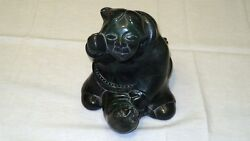 """Green Stone Statue Of A North American And Seal Made By Aardvark Canada 7""""x 6.7"""