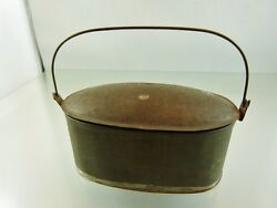 Oval Covered Tin Pail With Handle Salesman Sample