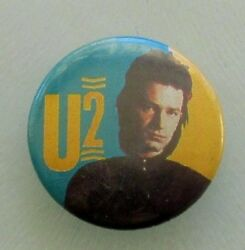U2 Bono Young Old Metal Button Badge From The 1980's Vintage Retro