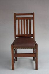 1910 Limbert Chair Arts And Crafts Craftsman Mission Seat Oak Wood Riveted