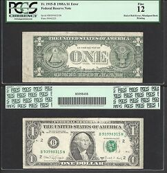1 1988-a End Of Roll Error=very Rare=exciting Green Line=pcgs Fine 12
