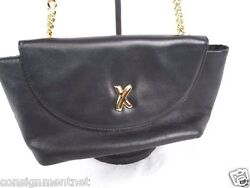 BY PALOMA PICASSO BLACK LEATHER SHOULDER EVENING  BAG GOLD CHAIN STRAP
