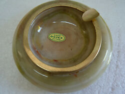 Splendid Natural Green And White Polished Onyx Ashtray, Mexico D 11.4 Cm Or 4 1/2