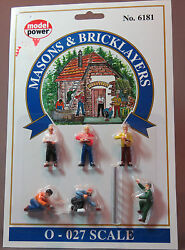 Model Power Mason's And Bricklayers O Scale People Figures Mpw 6181 Vf