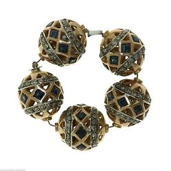 1021 Vintage Indian 18kt Gold, Blue Sapphires And Diamonds Beads