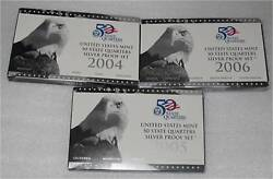 2004, 2005, 2006 Usa Silver 1/4 Dollar, 25 Cents 50 States Proof 94 Gr. Scrap