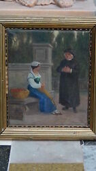 Antique 19c Old Master Dutch Oil On Canvas Of Priest And Flowers Seller, Signed