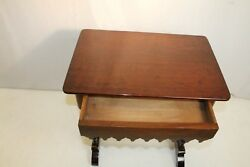 Lovely Early American Mahogany Gothic Table With One Drawer, 19th C.