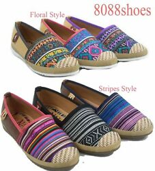 Women's slip On Floral Stripes Tribal Causal Flat Round Toe Shoes Size 5.5 - 11