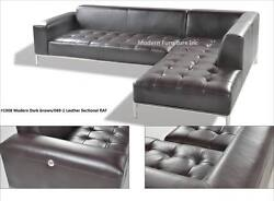 Modern Contemporary Leather Sectional In Dark Brown Chaise + Sofa 2 Pc Set 1008