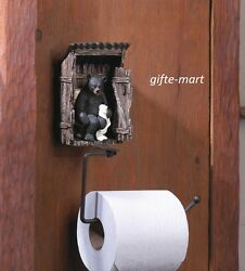 Funny Outhouse Lodge Black Bear Statue Bathroom Toilet Paper Tp Holder Gag Gift