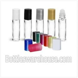 10 Ml 1/3 Oz Roll-on Glass Clear Bottle Pln W/ Housing Ball And White Color Caps