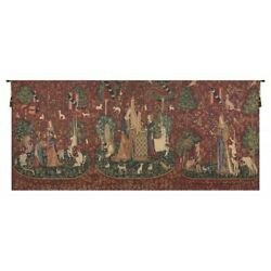 Lady And The Unicorn Series Ii Belgian Tapestry Wall Hanging H 66 X W 156