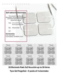 20 Electrode Pads Tens Units 2x2inch White Cloth Free Shipping