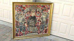 Antique 18c-19c Chinese Large Goldandsilver Embroidery Wall Hanging Of Opera Scene