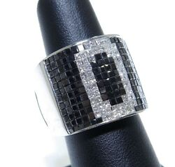 Mens 14k White Gold O Initial White And Black Invisible Set Diamond Ring 5.00ct