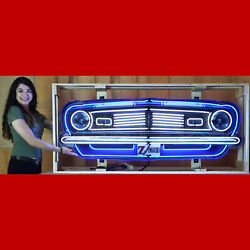 Fury Neon Sign In Steel Cans Grille Plymouth Hand Blown Glass Garage Wall Lamp