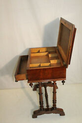 Great Victorian Walnut Sewing Side End Table With Drawer 19th Century