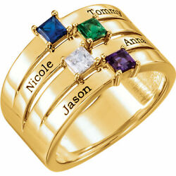 10k Or 14k Solid Gold Motherand039s Ring 1 To 4 Birthstones Childrenand039s Names Engraved